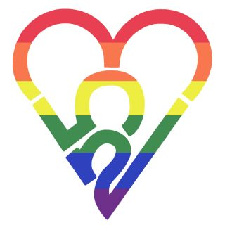 253 Heart Sticker - Rainbow (Large)
