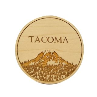 Engraved Maple Wood Coaster - Tacoma Mt Rainier - 4
