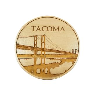 Engraved Maple Wood Coaster - Tacoma Narrows Bridge - 4