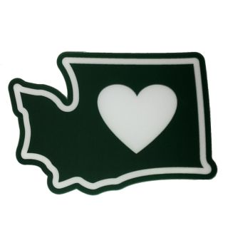 I Love Washington State - Heart in WA - Window Cling