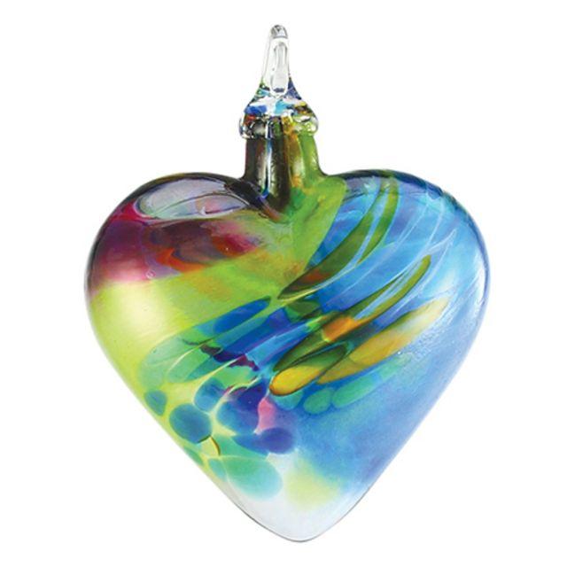 mt st helens volcanic ash hand blown art glass heart ornament