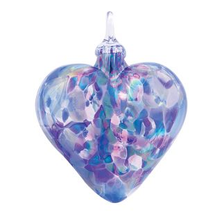 Mt. St. Helens Volcanic Ash Hand Blown Art Glass Heart Ornament - Lavender - 3