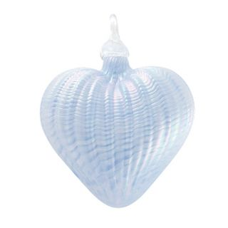 Mt. St. Helens Volcanic Ash Hand Blown Art Glass Heart Ornament - Periwinkle - 3