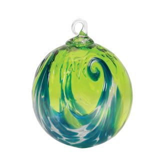 Mt. St. Helens Volcanic Ash Hand Blown Art Glass Ornament - Aqua Wave - 3'' diameter