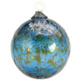 Mt. St. Helens Volcanic Ash Hand Blown Art Glass Ornament - Blue Lagoon - 3'' diameter