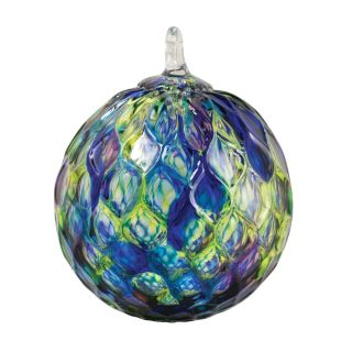 Mt. St. Helens Volcanic Ash Hand Blown Art Glass Ornament - Blue Mosaic Diamond Facet - 3'' diameter