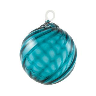 Mt. St. Helens Volcanic Ash Hand Blown Art Glass Ornament - Blue Tourmaline - 3'' diameter