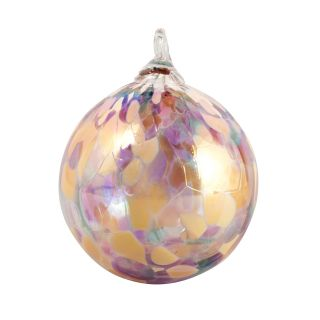 Mt. St. Helens Volcanic Ash Hand Blown Art Glass Ornament - Blush Orchid- 3