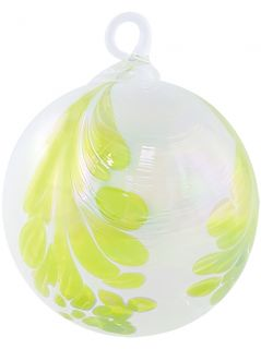 Mt. St. Helens Volcanic Ash Hand Blown Art Glass Ornament - Citronelle - 3'' diameter
