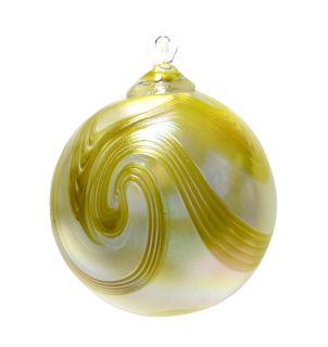 Mt. St. Helens Volcanic Ash Hand Blown Art Glass Ornament - Daisy Swirl - 3'' diameter