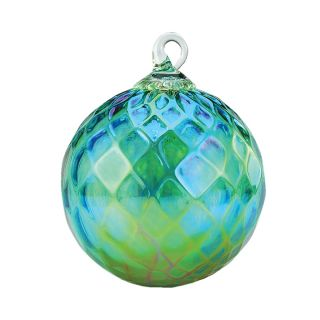Mt. St. Helens Volcanic Ash Hand Blown Art Glass Ornament - Emerald Green Diamond Facet - 3'' diameter