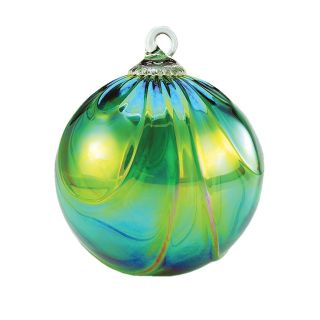 Mt. St. Helens Volcanic Ash Hand Blown Art Glass Ornament - Green Draped - 3'' diameter