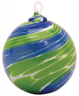 Mt. St. Helens Volcanic Ash Hand Blown Art Glass Ornament - Pacific Blue - 3