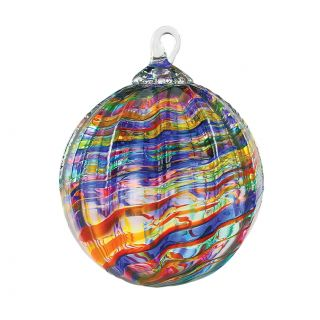 Mt. St. Helens Volcanic Ash Hand Blown Art Glass Ornament - Rainbow Kaleidoscope - 3