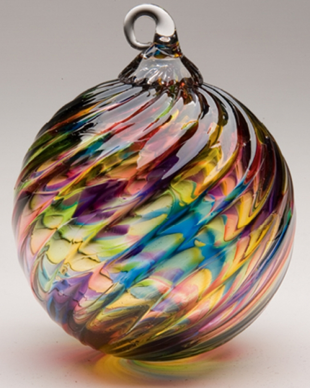 Mt. St. Helens Volcanic Ash Hand Blown Art Glass Ornament - Rainbow Twist -  3'' diameter - Pacific Northwest Shop - Mt. St. Helens Volcanic Ash Hand Blown Art Glass Ornament - Rainbow