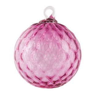 Mt. St. Helens Volcanic Ash Hand Blown Art Glass Ornament - Rose Diamond Facet - 3'' diameter