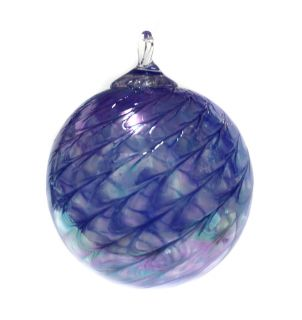 Mt. St. Helens Volcanic Ash Hand Blown Art Glass Ornament - Sapphire Scallop - 3'' diameter