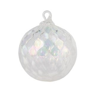 Mt. St. Helens Volcanic Ash Hand Blown Art Glass Ornament - White Illusion - 3'' diameter