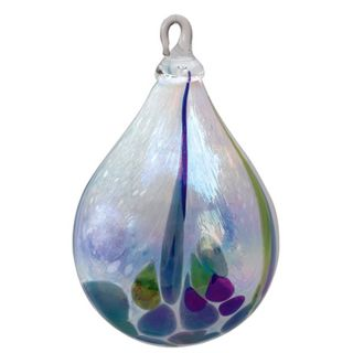 Mt. St. Helens Volcanic Ash Hand Blown Art Glass Raindrop Ornament - Rain Forest - 4'' height
