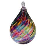 Mt. St. Helens Volcanic Ash Hand Blown Art Glass Raindrop Ornament - Rainbow Twist - 4'' height