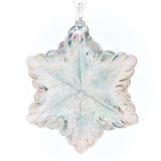 Mt. St. Helens Volcanic Ash Hand Blown Art Glass Vintage Star Ornament - Seafoam - 3.5'' diameter
