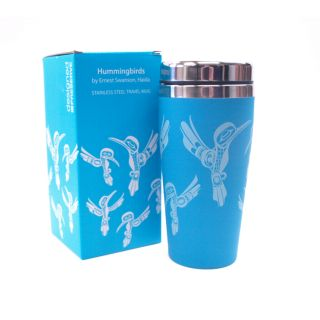 Native American Hummingbird (Blue) Design Insulated Travel Mug - 7