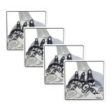 Native American Orca Whale Design Coasters - Set of Four (black/white)