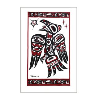 Native American Raven Design Tea Towel