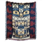 Pacific Northwest Coast Native American Animal Patterns - Cotton Throw Blanket - 64