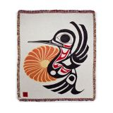 Pacific Northwest Coast Native American - Hummingbird - Cotton Throw Blanket - by Joe Mandur Jr - approx: 48