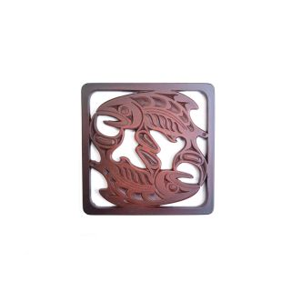Pacific Northwest Coast Native American Salmon Coaster - 4