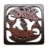 Pacific Northwest Coast Native American Salmon Trivet - 7