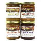 Rock Island Red - 1 jar of Apricot Yum, 1 jar of Peach Yum, 1 jar of Nectarine Yum and 1 jar of Plum Yum - Best Price: 4 jars (32 oz)