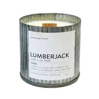 Rustic Wooden Wick 100% Soy Wax Candle - Lumberjack