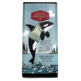 Seattle Chocolates - Dark Chocolate Toffee Sea Salt Truffle Bar - 2.5 oz