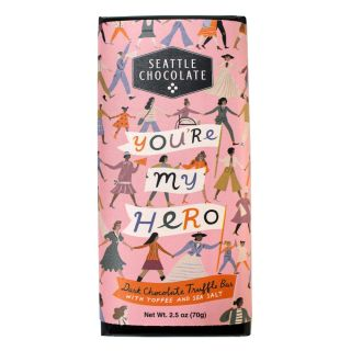Seattle Chocolates - You're My Hero Dark Chocolate Toffee & Sea Salt Truffle Bar - 2.5 oz