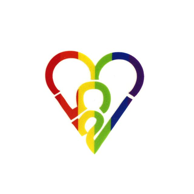 253 Heart Sticker - Rainbow (Small)