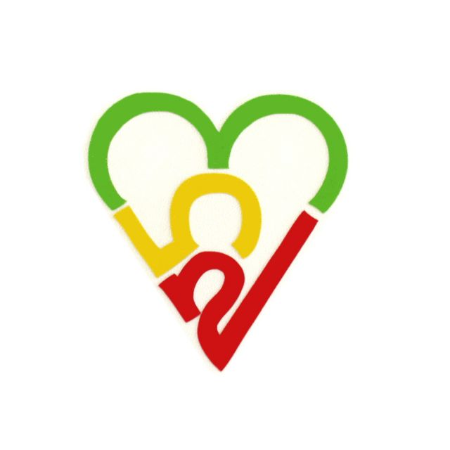 253 Heart Sticker - Rasta (Small)