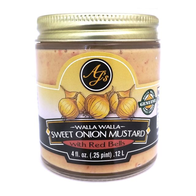 AJ's Walla Walla 4oz Sweet Onion Mustard with Red Bells