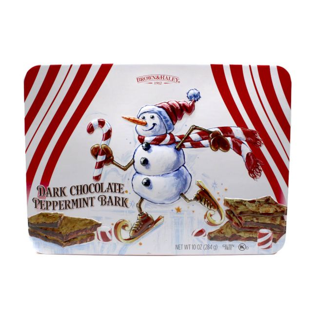 Almond Roca - Dark Chocolate Peppermint Bark Snowman Tin - 10 oz