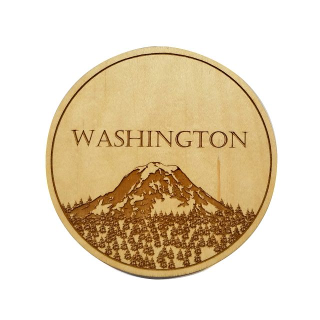 Engraved Maple Wood Coaster - Washington Mt Rainier - 4