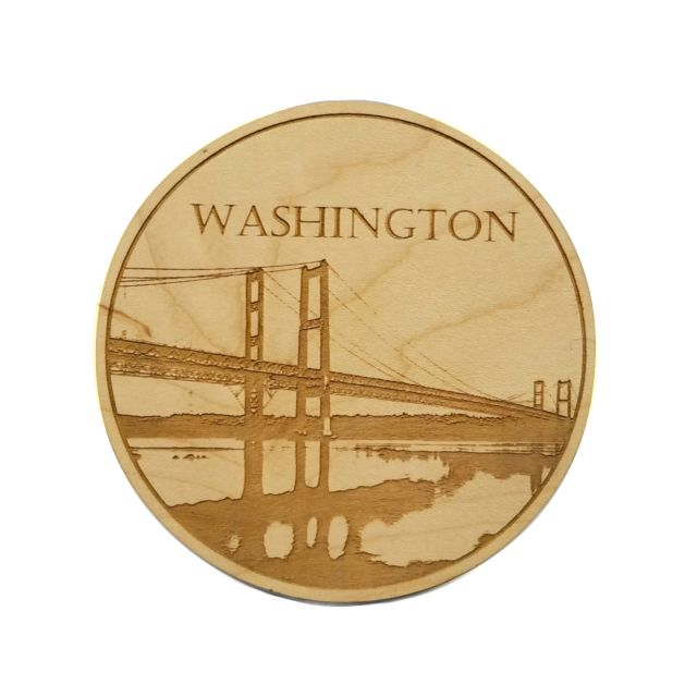 Engraved Maple Wood Coaster - Washington Narrows Bridge - 4