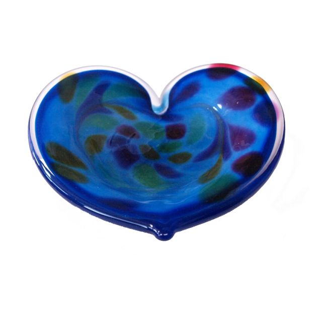 Glass Eye Studio - Affection Dish - Blue Heart - approx 5