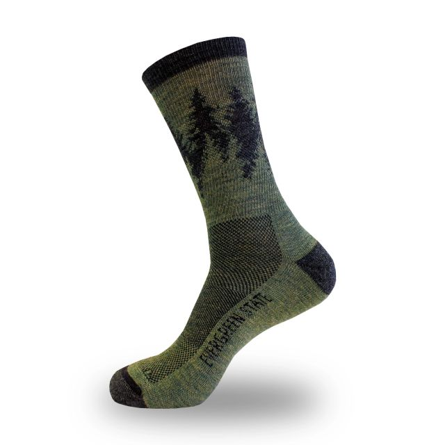 Large Merino Wool Blend Evergreen State Socks