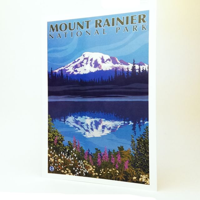 Mount Rainier National Park and Reflection Lake Greeting Card