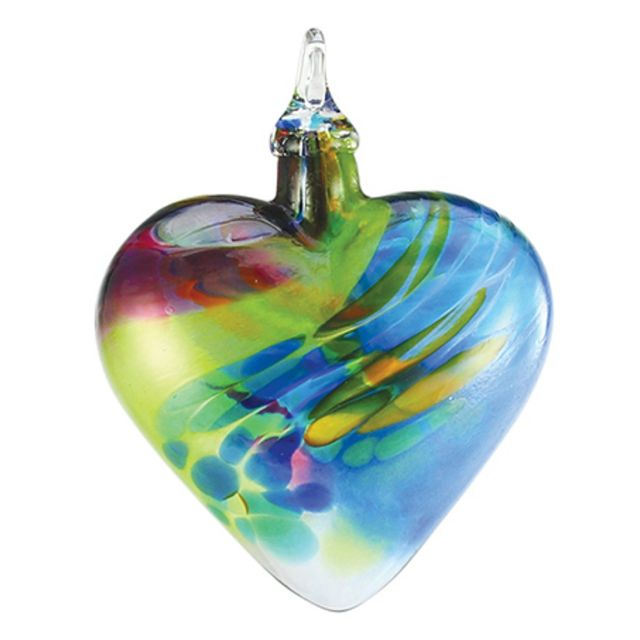 Mt. St. Helens Volcanic Ash Hand Blown Art Glass Heart Ornament - Chameleon - 3