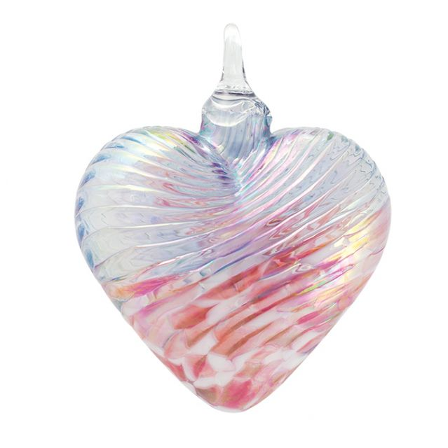 Mt. St. Helens Volcanic Ash Hand Blown Art Glass Heart Ornament - Cherry Blossom - 3