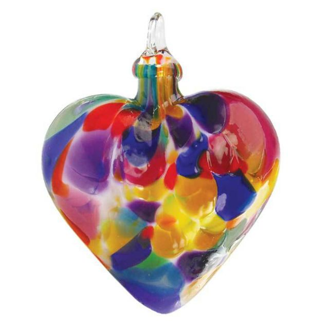 Mt. St. Helens Volcanic Ash Hand Blown Art Glass Heart Ornament - Fiesta- 3