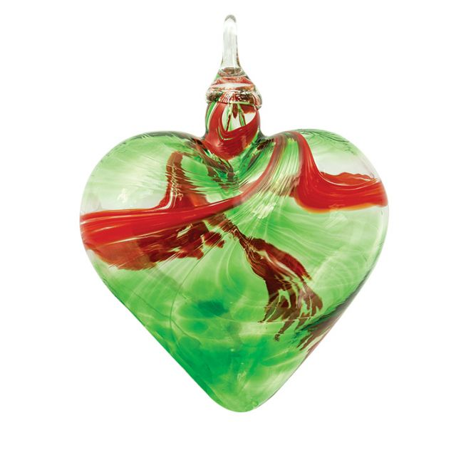 Mt. St. Helens Volcanic Ash Hand Blown Art Glass Heart Ornament - Mistletoe - 3
