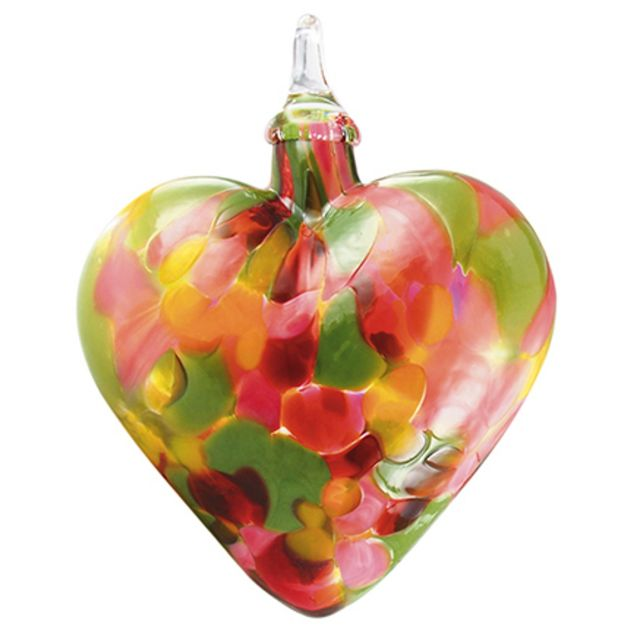 Mt. St. Helens Volcanic Ash hand Blown Art Glass Heart Ornament - Tulip Mosaic - 3